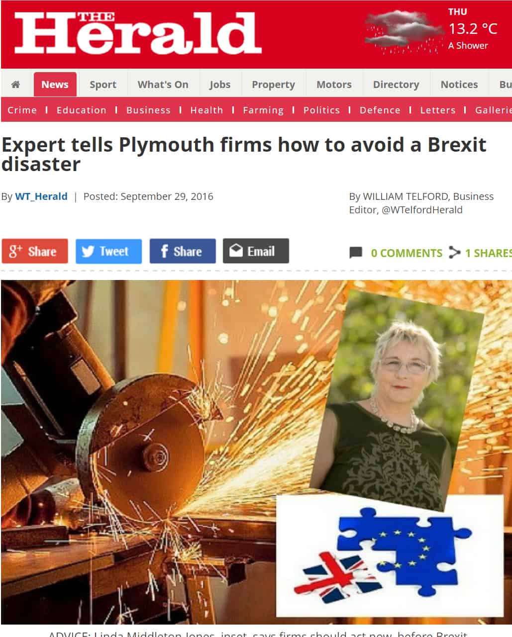 Brexit advice from Middleton Jones in Plymouth Herald